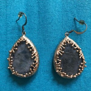Jewelry - Dangling earrings with green gem and gold accents
